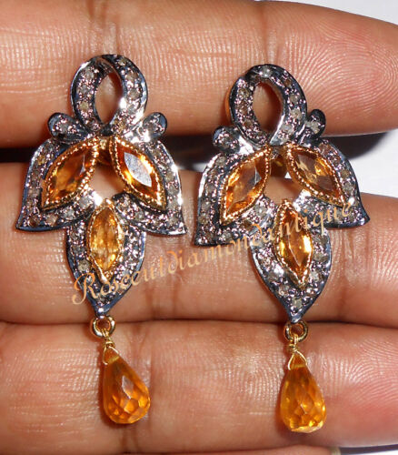 Details about  /1.14ct ANTIQUE ROSE CUT DIAMOND 925 SILVER TOPAZ VICTORIAN DANGLE STYLE EARRINGS