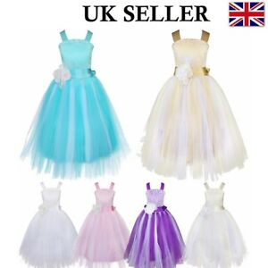 5d9619630b Image is loading UK-Pageant-Princess-Flower-Girls-Lace-Wedding-Formal-