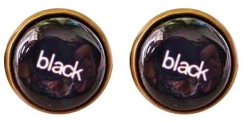 Noir Boucles D/'oreilles Drôle Mots message Simple Cool Hipster Round Stud Earring