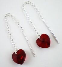 925 Silver Swarovski Elements 10mm Siam Red Heart Pull Through Drop Earrings