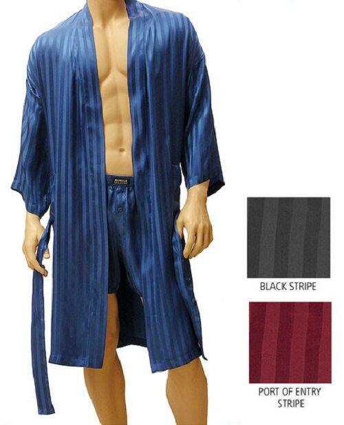 100% silk MANSILK  Striped Jacquard Kimono Robe M352J  FREE SHIPPING one SIZE