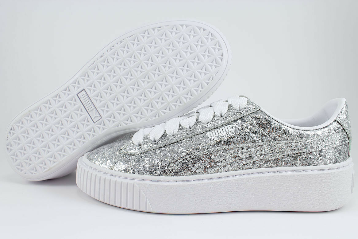 PUMA BASKET PLATFORM GLITTER SILVER WHITE SPARKLE RIHANNA TRAINER US WOMEN SIZES