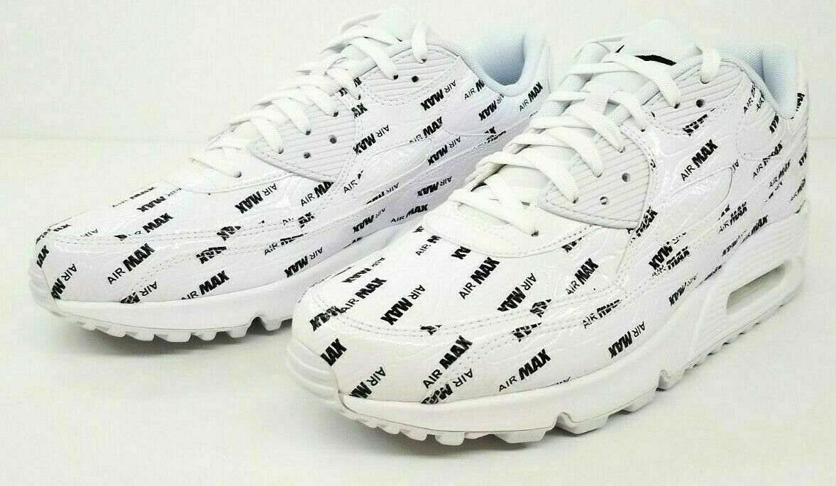 Nike Men's Air Max 90 Premium White Black Logo Print SZ-10.5 700155-103 No-Lid