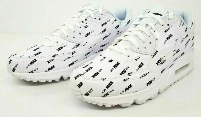 finest selection 73c83 5ea74 Nike Men s Air Max 90 Premium White Black Logo Print SZ-10.5 700155-