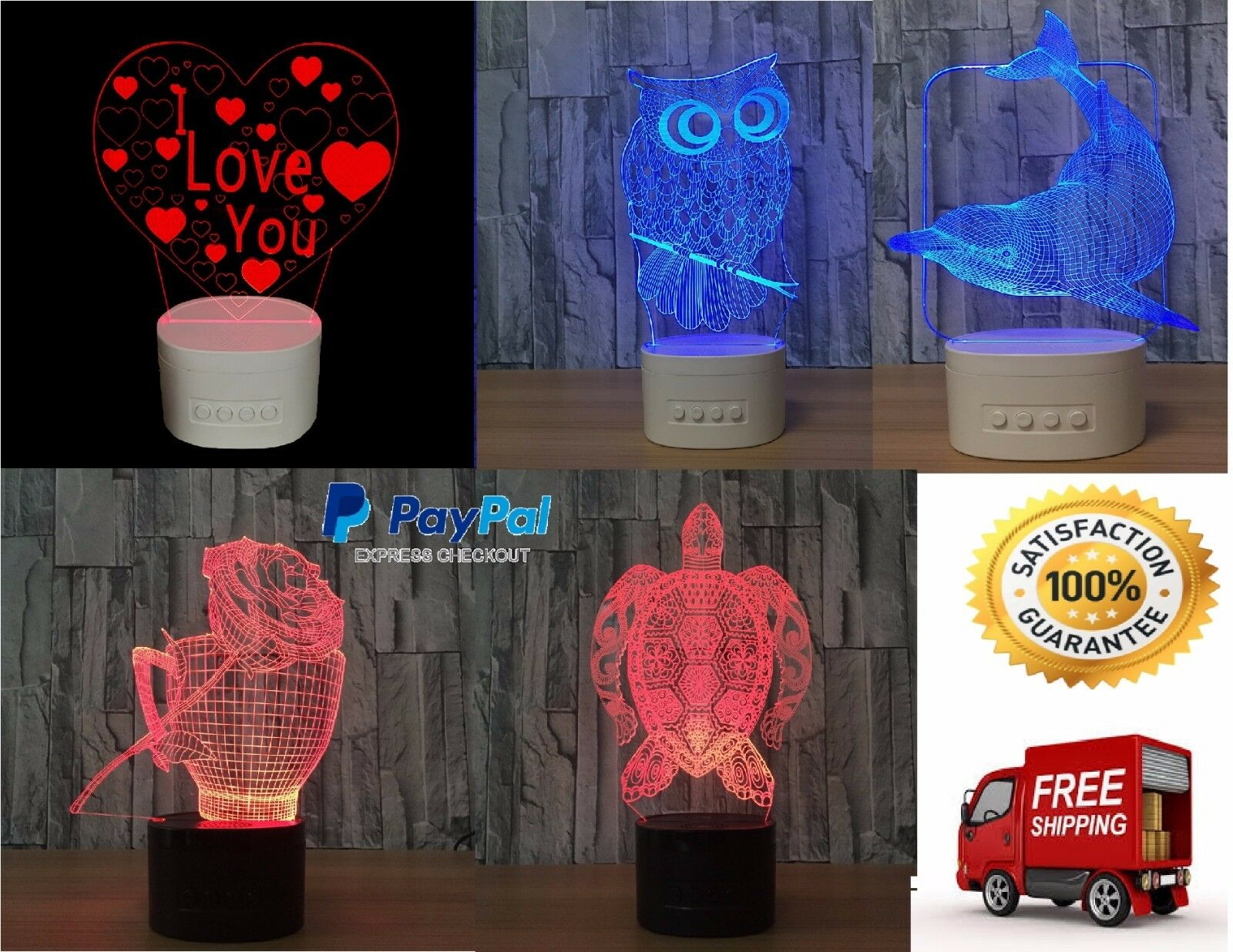 LED Desk Lamp 3D Farbeful Night Light with Blautooth Speaker Touch Control gift