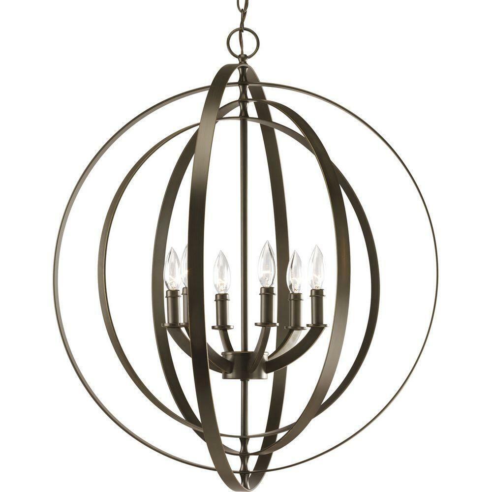 Progress Lighting Equinox 6-Light Burnished Silber Transitional Globe Chandelier
