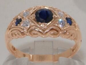 Solid-9ct-Rose-Gold-Natural-Sapphire-amp-Diamond-Vintage-Style-Band-Ring