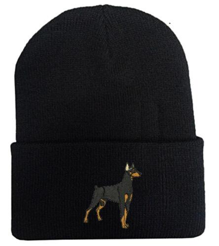 DOBERMAN DOG STITCHED WINTER BEANIE CAP HAT Free shipping to USA