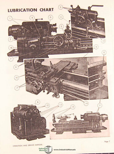 """16/"""" 20/"""" 20/""""W 25/"""" 32/"""" Lathe Operations Service and Parts Manual Axelson 14/"""""""