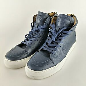 BUSCEMI Thick Leather Dark Blue Hi Tops Sneakers Size 12 Euro 45