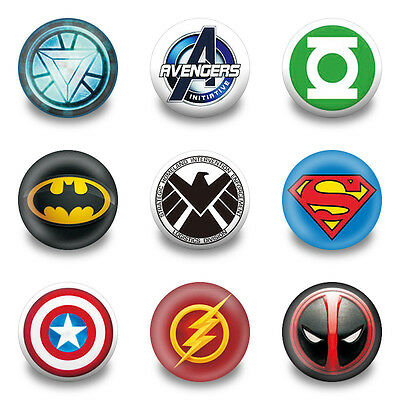 9-90pcs Super Hero pins button badges,30MM,Round Brooch Badge Party Kid gift