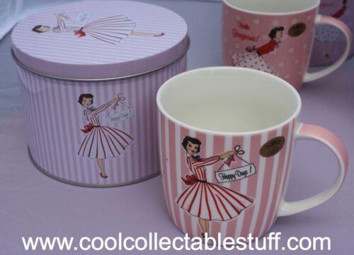 Rose Vintage Rétro Conception de Mme Smith Porcelaine Fine Cadeau Mug à TIN NOUVEAU!