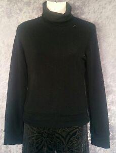 I-D-S-Jumper-Black-Turtleneck-Sweater-Cuffed-Long-Sleeve-Button-Knit-M-10-12