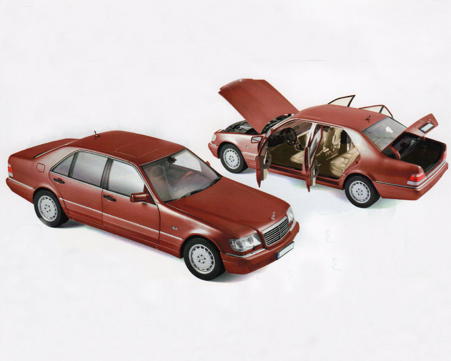 Mercedes-benz s500, 1997, rojo-metalizado, 1 18 norev