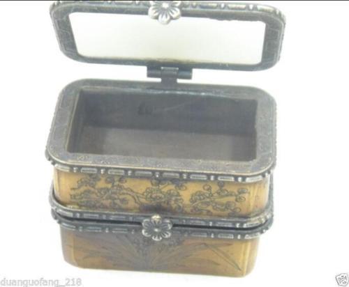 Vintage Handmade Old Bone Jade Carving Buddha /& Bird Double Jewelry Box NR