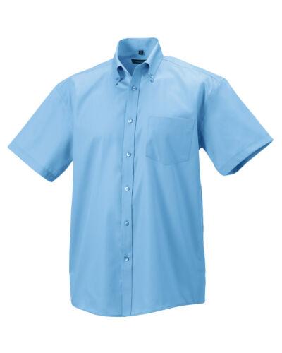 Russell non stirare Uomo Camicia Manica Corta 100/% Cotone Colletto con Bottoni Smart