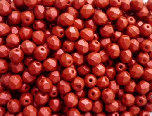 100 Stk feuerpolierte Glasschliffperlen 4mm Matt Rot mattiert # 01890 lava red