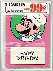 Nintendo-Mario-Bros-Greeting-Card-3-Pack-22-Nexoft-1989-Factory-Sealed