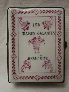 Boite-porcelaine-livre-Les-dames-galantes-Brantome-ceramique-Old-box-book-XXeme