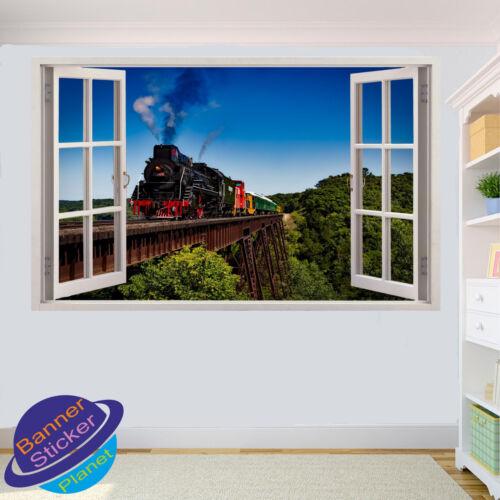 STEAM TRAIN WALL STICKER OVER METAL BRIDGE 3D WINDOW ROOM DECOR DECAL MURAL YJ6