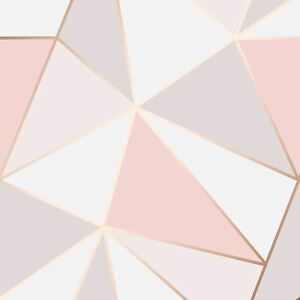 Image Is Loading Apex Geometric Wallpaper Rose Gold Feature Wall Decor