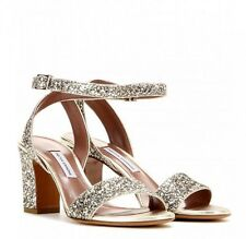 NEW Auth Tabitha Simmons Leticia Glittered Heel Sandals Sz 37.5  7.5