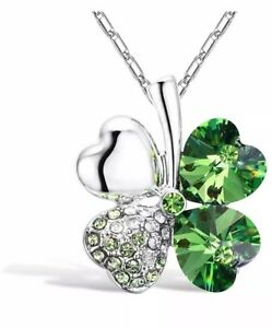 347c4c915cce0 Details about Four Leaf Clover Heart Necklace with Crystals from Swarovski  With Gift Box