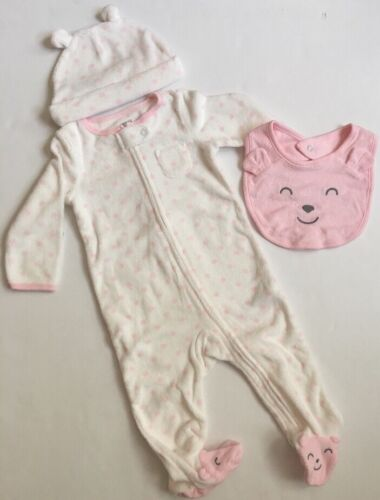 Carters Baby Girl Coverall Hat Bib Set Size 9 Months Layette Pink Dot Terry