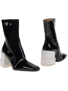 c0ac9241b38 Womens Patent Leather Ankle Boots Chunky Heel Runway Square Toe ...