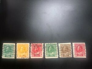 Canada stamps used coils #125-130 set King George V Admiral