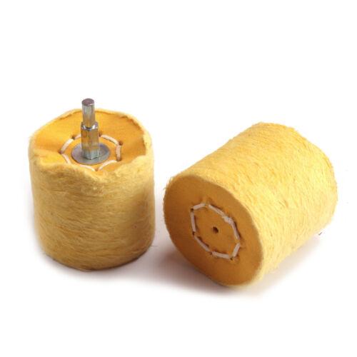 2Pcs 65mm Cloth Column Polishing Pad Mop Wheel Grinding Head  Yellow Shank 6mm