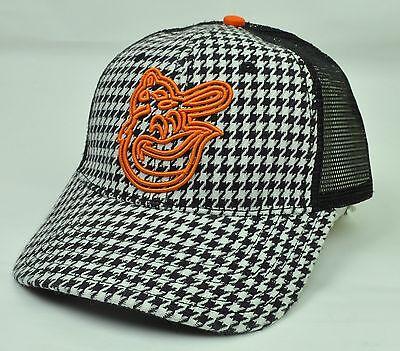 Mlb Baltimore Orioles Ziggity Netz Snapback Karo Schwarz Weiß Orange Hut Attraktiv Und Langlebig Fanartikel