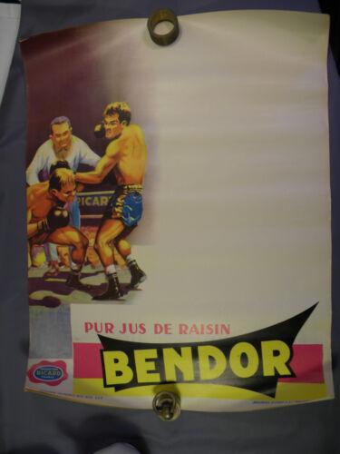 1  Affiche ANCIENNE originale  BENDOR RICARD  papier  années 50  BOXE