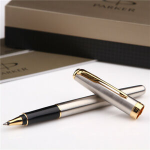 Perfect-Parker-Sonnet-Series-Steel-Color-Gold-Clip-0-5mm-Fine-Nib-Rollerball-Pen