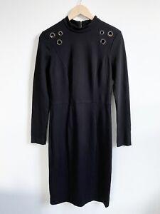 Cue-Dress-Size-12-Black-Long-Sleeve-Midi-Eyelet-Detail-Winter-Workwear-Corport