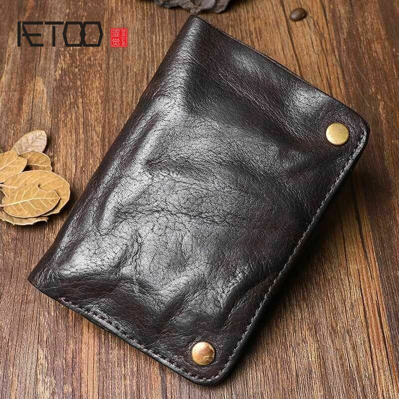 Mens Wrinkle Wallet Money Holder Original Handmade Genuine Cow Leather Retro New