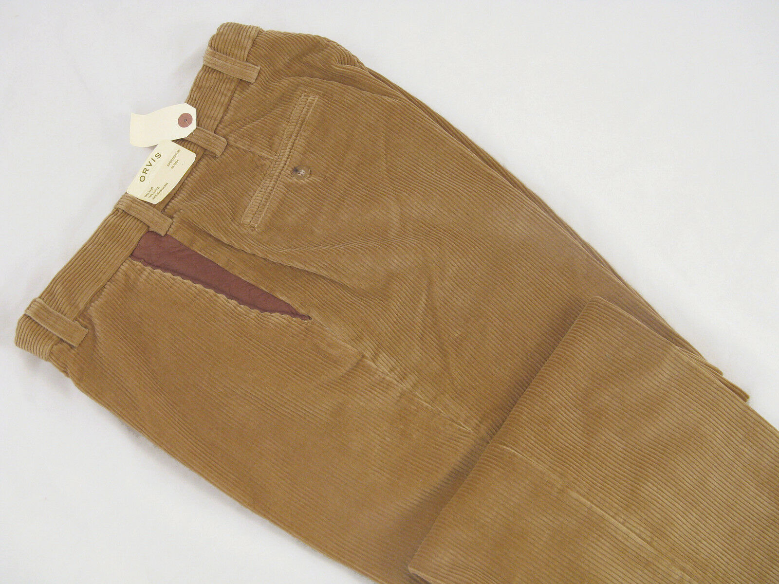 NEW  Orvis Light Brown Super Cords Pants   34 x 29  Pleated  Leather Detail