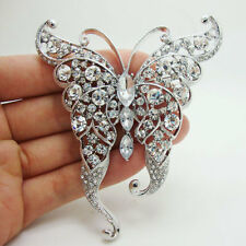 Crystal Brooch Fashion Clear Rhinestone Crystal Butterfly Insect Brooch