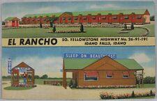 1940's Vintage Postcard El Rancho Yellowstone Highway Idaho Falls, ID