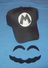 "Handmade Super ""Metal"" MARIO Costume Face Pieces & Hat w/ Letter ""M"""