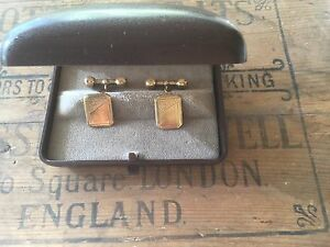 Vintage-Jewellery-Gold-Cuff-Links-Art-Deco-Shield-Cufflinks-orig-box-Antique