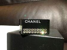 CHANEL CC LE Swarovski Crystals Black Plastic Resin Acrylic Cuff Bracelet Bangle