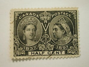 Image Is Loading CANADA 50 Stamp Half Cent Used Lightly Hinged