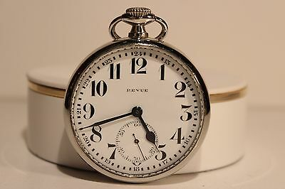 "Brave Art Deco Ww2 Era Swiss Men's All Stainless Steel Open Face Pocket Watch ""revue"" Pocket Watches"