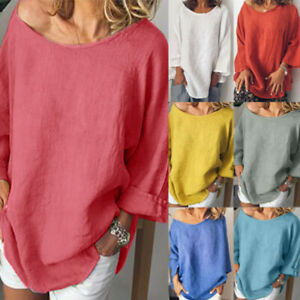 Womens-Casual-O-Neck-3-4-Sleeve-Cotton-Linen-T-Shirt-Baggy-Loose-Top-Blouse