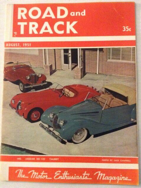 Road And Track Magazine Jaguar XK-120 Talbot August 1951 022019nonrh