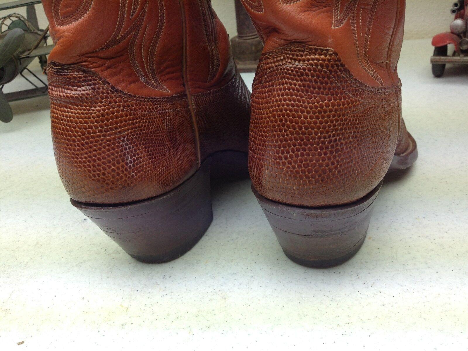 CLASSIC JUSTIN STYLE 7322 COGNAC LEATHER LIZARD WESTERN WESTERN WESTERN COWBOY DANCE BOOTS 8.5D 27922b