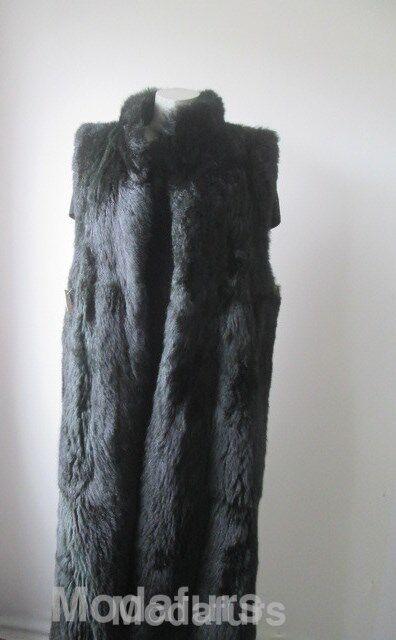 Women's Sz 12 Dark Green Opossum Fur Vest Lining Excellent Raincoat Coat