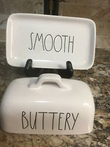 Rae-Dunn-BUTTERY-SMOOTH-Butter-Dish-Ivory-LL-Black-Script-Farmhouse-By-Magenta