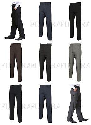 Gehorsam Mens Trousers Formal Casual Office Business Smart Work Belt Pocket Plus Big